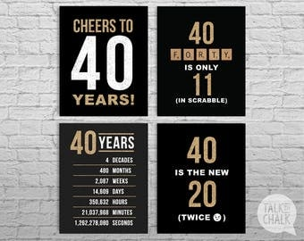 40th Birthday Black and Gold Glitter PRINTABLE Signs, 40th Birthday DIGITAL Posters, Cheers to 40 Years Sign, 40th Birthday Decorations