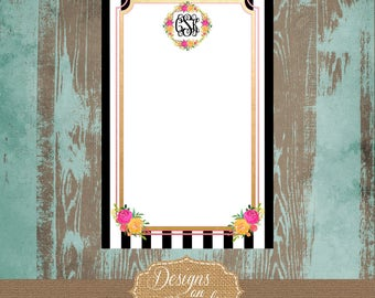 Kate Spade Inspired Notepad with Initials, Kate Spade notes, personalized stationery, graduation gift, sorority gift