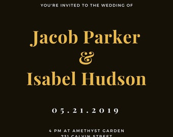 Black and Gold Rustic Lantern Wedding Invitation Printable