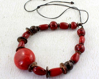 Red Chunky Necklace made of Tagua - Red Bead Necklace - Chunky Jewelry - Eco Fashion - Present for Mom - Gift Ideas for Women 1340