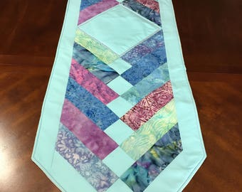 Spring Table Runner - Friendship Braid Runner - Robins Egg Blue Runner - Cotton Batiks - Spring Decor - Quilt Style - Housewarming Gift