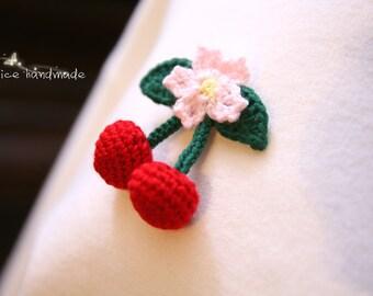 Crochet Cherry Brooch/ Crochet Cherry Hair Clip/ Cherry Alligator Clip/ Handmade Cherry Flower. Ready to ship.