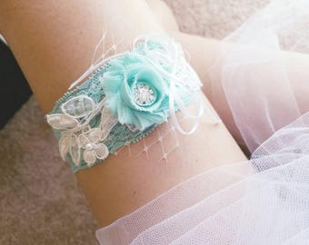 Aqua blue lace wedding garter, single garter, toss and keepsake garter, blue bridal garter, something blue garter, wedding accessories