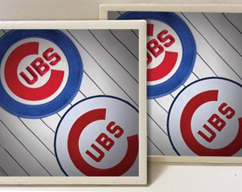 Chicago Cubs Jersey Logos Designed Set of 2 Ceramic Tile Coasters