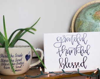 Grateful Thankful Blessed Wooden Sign- Thankful Wooden Sign- Grateful Wooden Sign- Farmhouse Home Decor- Rustic Home Decor- Wall Decor