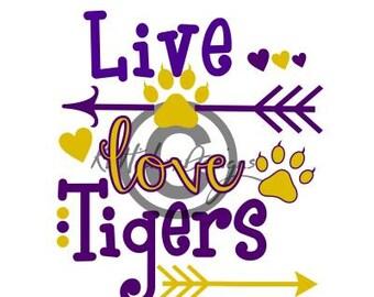 Tiger Svg, Live Love Tiger Svg, Arrow Svg, Dxf