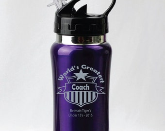 Personalised Coach Engraved Drink Bottle - Blue