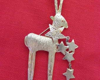 Large Ultra Craft Reindeer with Stars Pin