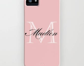 Custom Device case for iPhone 5/5s, iPhone 6/ 6s, iPhone 7/ 7s, Samsung, Galaxy, Pink, Solid, Color, Custom, Name, Monogram, Gift, Christmas