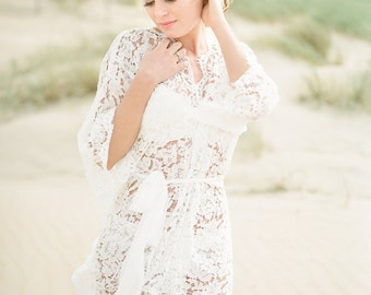 Ellea - Cotton lace robe e - bridal lace robe - lace kimono - ivory - STYLE 315