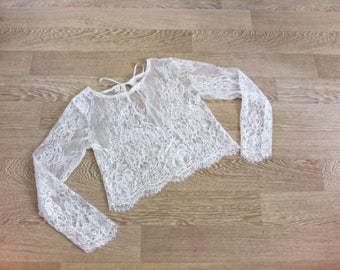 Ready to ship - Size XS/S - Top lace - Bridal lace top - Bridal blouse - Ivory - style 104