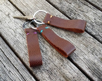 Leather Key Ring - Leather Key Fob - Brown Leather Key Ring - Gift for Boyfriend - Gift for Her - Leather Key Strap - Simple Key Chain