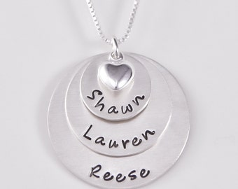 Hand stamped mothers necklace with heart charm | hand stamped | mothers necklace with names |Sterling Silver necklace
