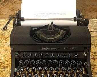 WWII US Navy Mill Underwood Universal Typewriter Portable Manual 1941 Morse Code Naval Military Machine Scarce