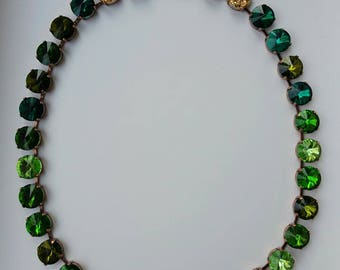 Emerald riviere collet, green crystal necklace,Georgian paste collet necklace,18th century jewelry,bridesmaid gift,green wedding necklace