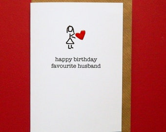 Happy Birthday Favourite Husband, red enamel love heart, funny husband birthday - Hand-enamelled art card.