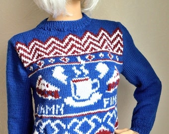 Hand knitted ''Twin Peaks'' women's sweater