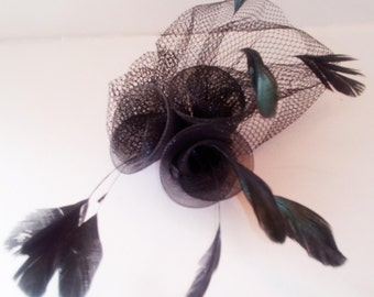 special occassion black chic fascinator tulle sinamay roses flighty feathers lightweight for an exquisite look chapeau bibi headpiece coiffe