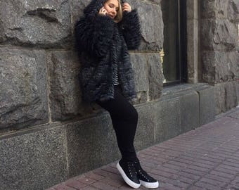 Gray faux fur coat/ artificial fur hooded coat / oversize fake fur jacket / feather fur coat/ Burning man coat/ Playa coat / warm women coat