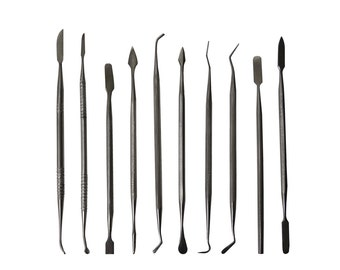 10 Piece Stainless Steel Wax Carving Set w/ Storage Pouch Precious Metal Clay Wax Ceramic Carver Detailer Jewelry Making Tool - WAX-0005
