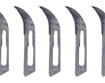 Curved Scalpel Blades #12 - 100/Box Mold Cutting Surgical Steel Knife Swann-Morton Blades - KNF-235.12