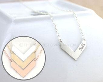Personalied Chevron Necklace - V Bar necklace, gold filled v necklace