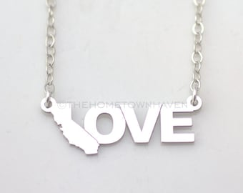 California Love Necklace, I heart California necklace, Love necklace