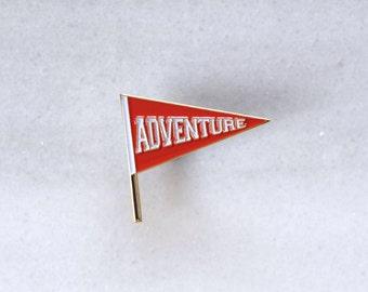 ADVENTURE - Pennant Enamel Pin, Lapel pin.