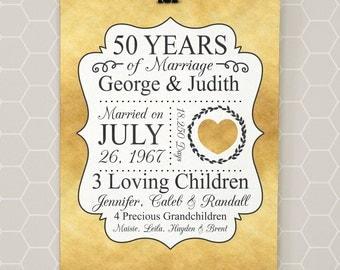 50th Anniversary Gift, Golden Anniversary, 50 Years and Counting, Gold Anniversary, 1967, Parents Anniversary, Grandparents - LPM21