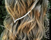 Clip-In Hair Jewelry, Delicate Hair Chain Accessory, Tribal Head Chain, Crystal Jewels And Silver Hippie Wedding Head Piece.