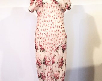 1930s style Bias Cut Sun Dress Dusty Rose Indian cotton dress
