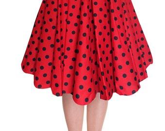 Full Circle Skirt Red Polka Dot Skirt Red Skirt Swing Skirt Pin Up Skirt Rockabilly Skirt 50s Skirt Retro Skirt Party Skirt Pin Up Clothing