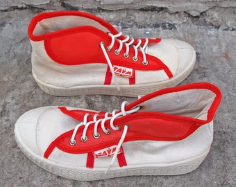 White and red canvas sneakers, 80s vintage sneakers, Size US 6 sneakers, US 7 teens sport shoes, Keds shoes, Gift for her, Gift for teens