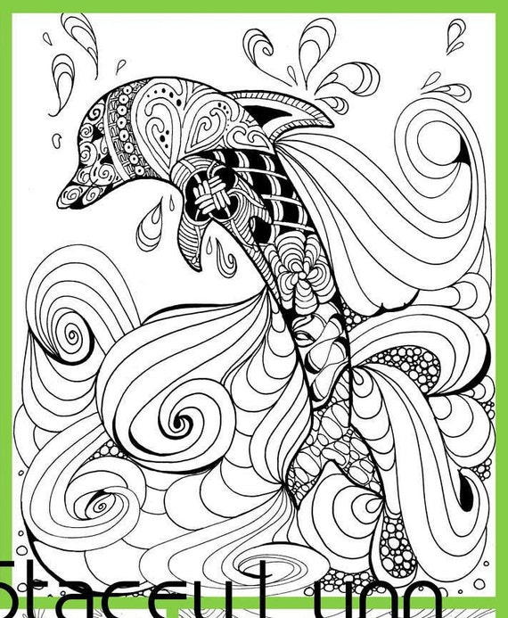 dolphin coloring page digital download
