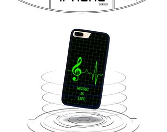 Music is Life Heart MonitoriPhone 4 4s iPhone 5 5s iPhone 5c iPhone 6 iPhone 6 7 Plus iPod Touch 5 (2in1) Rubber Phone Case