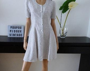 robe vintage blanche a pois bleus taille 40 - uk 12 - us 8