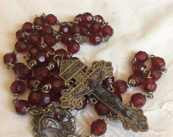 Vintage Italian Red Rosary 1920s