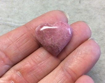 Natural Rhodonite Heart Shaped Flat Back Cabochon - Measuring 22mm x 19mm, 6mm Dome Height - ...