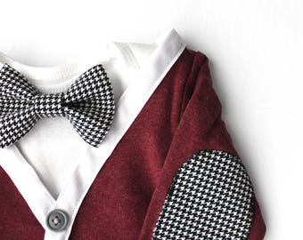Ready to Ship 3-6M Maroon Cardigan Onesie Set with black and white Houndstooth bowtie and elbow patches