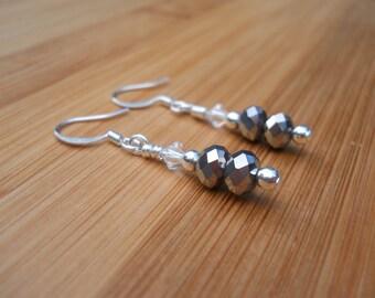Sterling silver and Swarovski crystal dangle earrings