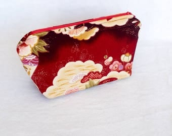Japanese Chirimen Cosmetic Pouch/ Japanese Chirimen Cosmetic Case (Deep Red)/ Japanese Chirimen Pencil Case/ Authentic Japanese Fabric