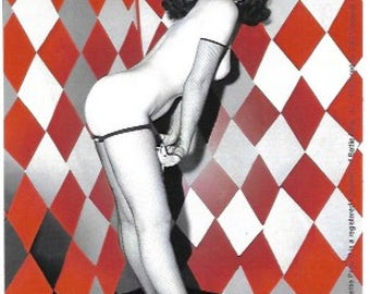 Bettie Page Harlequin Vintage Sticker / Decal, Retro, Rockabilly, Pin Up,