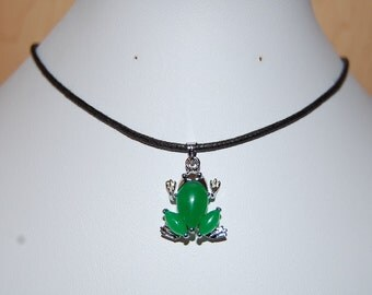 Frog Necklace,Frog Leather Chocker Necklace,Choker Necklace,Man,Woman,Cord Necklace,Buddhist,Lobster Lock End Cord