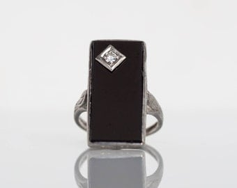 Circa 1920s Art Deco Platinum Onyx Engagement Ring with .03ct Old European Cut Diamond - VEG#635