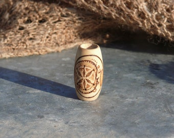 Moon of life - dreadlock bead - wooden dread bead - moon and flower of life jewelry - handmade with love