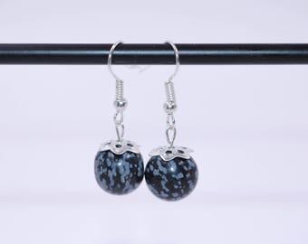 Bohemian Earrings // Snowflake Obsidian Earrings // Womens Earrings // Black Stone Earrings // Black Bead Earrings // Dangle Earrings
