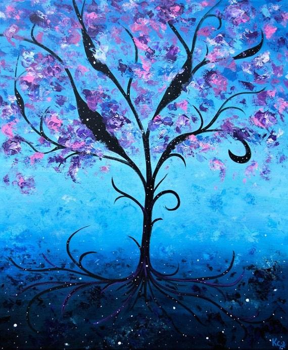 Tree of Life Art, Night Landscape. Tree Art Print. Cosmic Life Tree. Stars. Space. Surrealism, Visionary Art, Fantasy Art. FREE SHIPPING!
