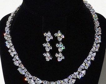 New Bridal Stunning CZ Multi Shape Crystal &  Earring  Necklace Set