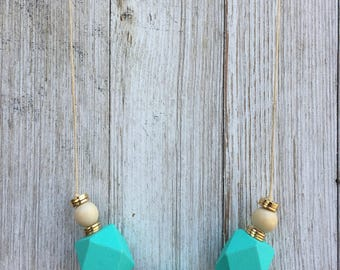 Geo Necklace, Teal