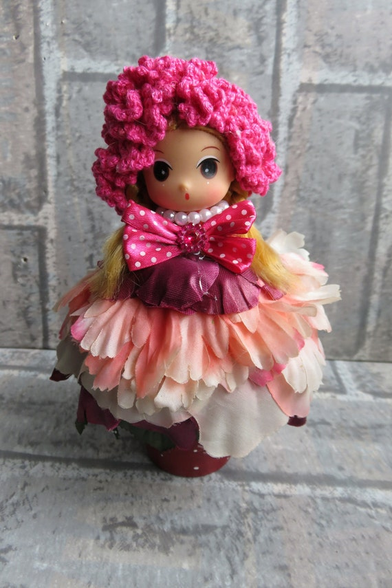 Flower Dressed Doll, Clay Pot Doll, Clay Pot Flower Dressed Doll, Doll Dressed in Red Silk Flowers, Flower Pot Dressed Doll, Home Decor,